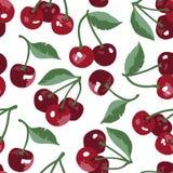 Wektorowy lato wzór z słodkimi wiśniami, kwiatami i liśćmi, Bezszwowy tekstura projekt royalty ilustracja