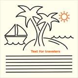 Wektorowy liniowy obrazek ulotki dla turystów z wizerunkiem wyspa z drzewkami palmowymi, jachtami, dennymi fala, pomarańczowym sł Zdjęcie Royalty Free