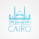 Wektorowy liniowy symbol Egipt Ctadel Cairo royalty ilustracja