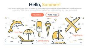 Wektorowy liniowy webpage z chodnikowa latem CZEŚĆ ilustracji
