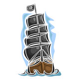 Wektorowy loga pirata żeglowania statek Zdjęcia Royalty Free