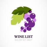 Wektorowy loga projekta szablon Gałąź winogrono z liśćmi Fotografia Royalty Free