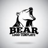 Wektorowy loga szablon z huczenie niedźwiedziem dla sport drużyn, gatunków, etc Obrazy Stock