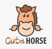 Wektorowy logo сute kreskówki śmieszny uśmiechnięty koń Nowożytny humorystyczny logo szablon z wizerunkiem koń wyścigowy ilustracji