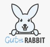 Wektorowy logo сute kreskówki śmieszny uśmiechnięty królik Nowożytny humorystyczny logo szablon z wizerunkiem królik Butchery, we royalty ilustracja