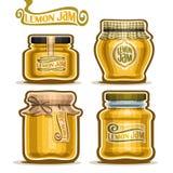 Wektorowy logo cytryny dżem w szklanych słojach ilustracji