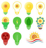 Wektorowy logo, ikona ustawiający słońce i energia i zasilamy temat Fotografia Stock