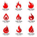 Wektorowy logo ustawiający z pożarniczymi symbolami royalty ilustracja