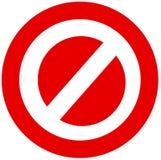 Wektorowy logo zakazujący lub zatrzymujący na białym tle royalty ilustracja