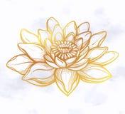 Wektorowy Lotosowy kwiat, etniczna sztuka royalty ilustracja