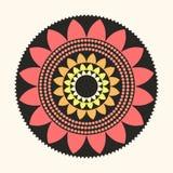 Wektorowy Lotosowy mandala Płaska Naturalna Abstrakcjonistyczna ilustracja Zdjęcie Stock