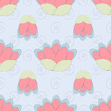 Wektorowy lotosu wzór w delikatnych kolorach Obraz Royalty Free