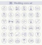 Wektorowy ślubu konturu ikony set Cienieje kreskowego stylu projekt Obraz Royalty Free