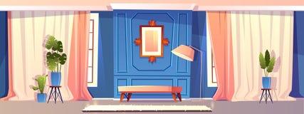 Wektorowy luksusowy żywy pokój w błękitnym kolorze ilustracja wektor