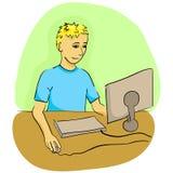 Mężczyzna pracuje z komputerem Fotografia Stock