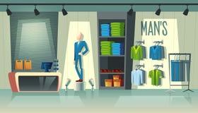 Wektorowy mężczyzna s odzieży sklep, męski moda butik ilustracji