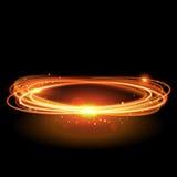 Wektorowy magiczny złocisty okrąg Rozjarzony ogienia pierścionek Błyskotliwości błyskotania zawijas ilustracja wektor