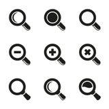 Wektorowy Magnifier Szklany i zoom ikony ustawiać Fotografia Royalty Free