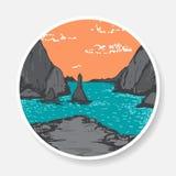 Wektorowy majcher z malować skałami i morzem Zdjęcie Royalty Free