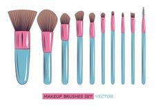 Wektorowy makeup szczotkuje set odizolowywającego na białym tle Zdjęcia Royalty Free