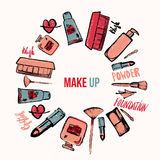 Wektorowy Makeup tło Wspaniała makeup kolekcja z gwóźdź pomadką i połyskiem ilustracja wektor