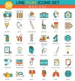 Wektorowy Medyczny medycyny mieszkania linii ikony set Nowożytny eleganckiego stylu projekt dla sieci Zdjęcia Royalty Free