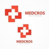Wektorowy medyczny przecinający logo lub ikona Zdjęcie Royalty Free