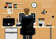 Wektorowy miejsce pracy dla Biznesowej teczki, stoły, krzesła, komputery, zegarki, pióra, ołówki, kartoteki, dokumenty, lampy, fi ilustracja wektor