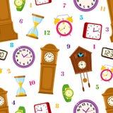 Wektorowy mieszkanie zegar pisać na maszynie ikonie bezszwowego wzór Obraz Royalty Free
