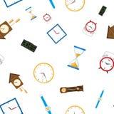 Wektorowy mieszkanie zegar pisać na maszynie ikonie bezszwowego wzór Zdjęcia Royalty Free