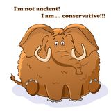 Wektorowy ?mieszny zwierz? Gęsty śliczny mamut royalty ilustracja