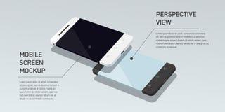 Wektorowy minimalistic 3d isometric ilustracyjny telefon komórkowy Perspektywiczny widok ilustracja wektor