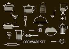 Wektorowy minimalistic set cookware royalty ilustracja