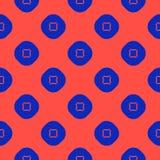 Wektorowy minimalistyczny geometryczny bezszwowy wzór z okręgami, kwadraty niebieska czerwony royalty ilustracja