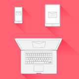 Wektorowy Minimalny projekta emaila marketing ilustracji