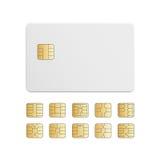 Wektorowy Mobilny Komórkowego telefonu Sim karty zestaw chipów Zdjęcia Stock