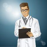 Wektorowy modniś lekarki mężczyzna Z schowkiem Zdjęcia Stock