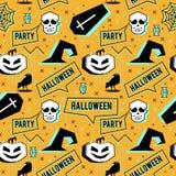 Wektorowy modny Halloween bezszwowy wzór z Memphis geometrycznym stylem bania, czaszka, pająk sieć i horror wrona, Mody arti fotografia royalty free