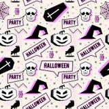 Wektorowy modny Halloween bezszwowy wzór z Memphis geometrycznym stylem bania, czaszka, pająk sieć i horror wrona, Mody arti obrazy royalty free