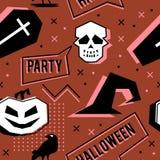 Wektorowy modny Halloween bezszwowy wzór z Memphis geometrycznym stylem duch, czaszka, pająk sieć i horror wrona, Moda artysta zdjęcia stock