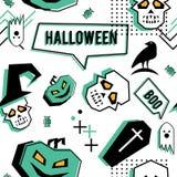 Wektorowy modny Halloween bezszwowy wzór z Memphis geometrycznym stylem duch, czaszka, pająk sieć i horror wrona, Moda artysta obrazy royalty free