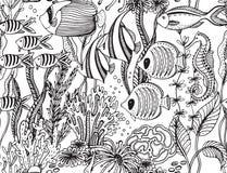 Wektorowy monochromatyczny bezszwowy morze wzór z tropikalnymi ryba royalty ilustracja
