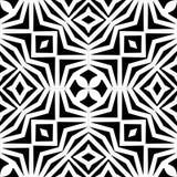 Wektorowy monochromatyczny bezszwowy wzór, abstrakcjonistyczna geometryczna kwiecistego ornamentu tekstura Zdjęcia Royalty Free