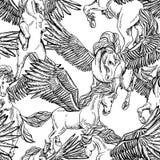 Wektorowy monochromatyczny bezszwowy wzór oskrzydlony Pegasus royalty ilustracja