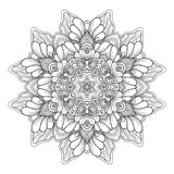 Wektorowy Monochromatyczny mandala Etniczny dekoracyjny round element royalty ilustracja