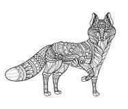 Wektorowy Monochromatyczny Plemienny Dekoracyjny Czerwony Fox ilustracji