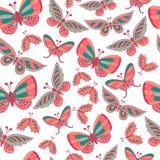 Wektorowy motyli bezszwowy wzór Zdjęcia Stock