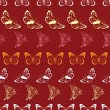 Wektorowy Motyli Lineart Paskuje Bezszwowego wzór Obrazy Stock