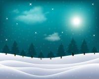 Wektorowy mroźny krajobraz z nocnego nieba i światła księżyc ilustracja wektor