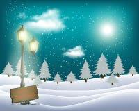 Wektorowy mroźny krajobraz z nocnego nieba i światła księżyc ilustracji